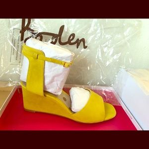 "Gorgeous, yellow, ""ruby demi wedge"" Boden shoes"